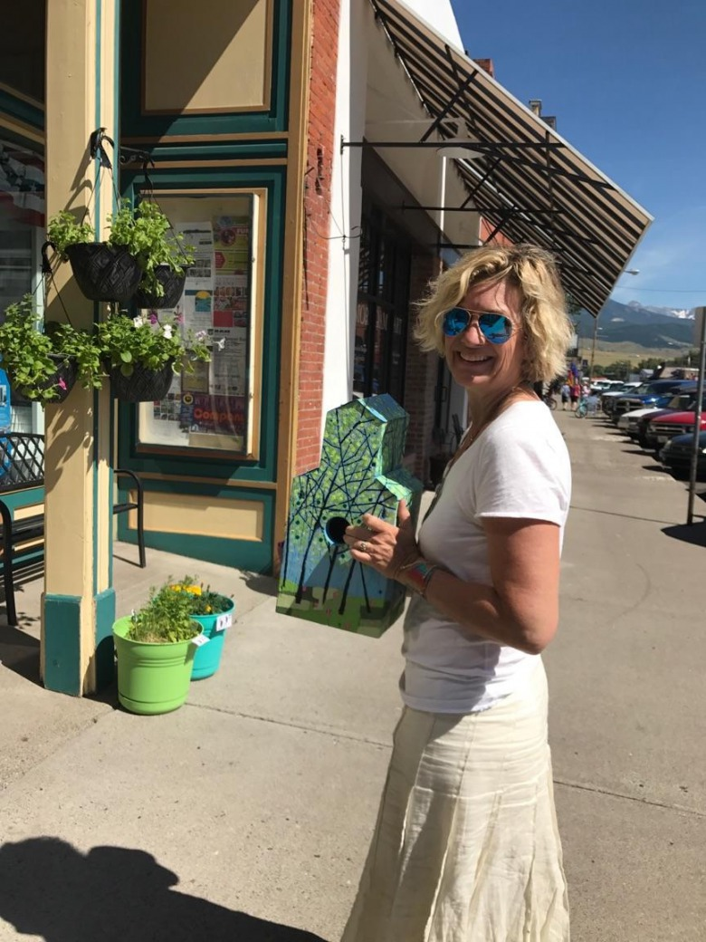 Lori Ryker outside her design studio in Livingston, Montana