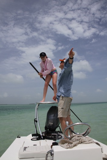 Marshall Cutchin and his daughter on the flats of Key West.