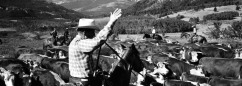 Bob Staffanson in the saddle herding cattle half a century ago.