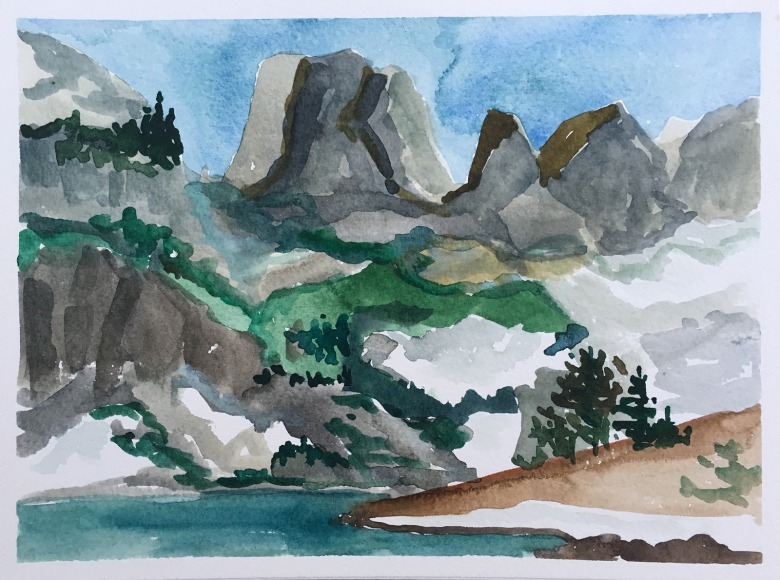 From the shore of Ramshead Lake, Sue Cedarholm's interpretation of Rock of Ages high in the Teton Range.