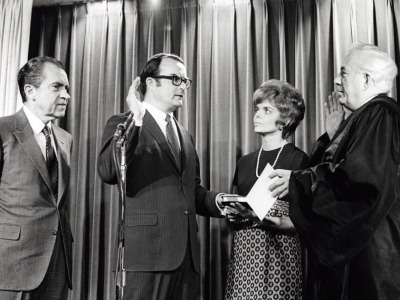 William Ruckelshaus being sworn in as the first chief administrator of the U.S. Environmental Protection Agency.
