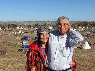 Lois Red Elk-Reed and husband, Dennis, at Standing Rock in autumn 2016