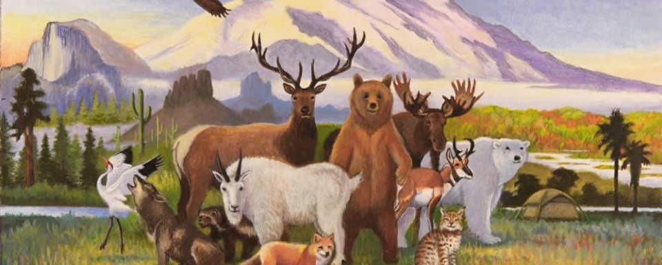 Montana painter Monte Dolack's painting, A Peaceable Kingdom of Wilderness, featured on Wilderness Watch's 50th anniversary celebration for The Wilderness Act of 1964.