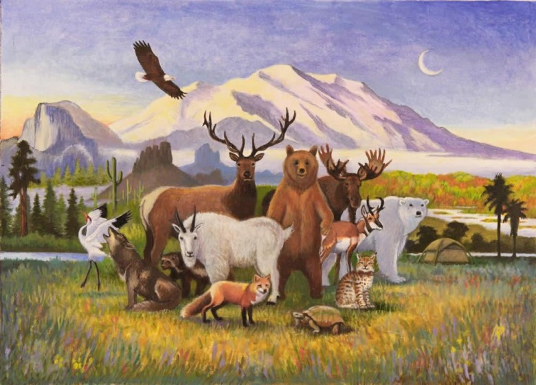 Montana painter Monte Dolack's painting, A Peaceable Kingdom of Wilderness, featured on Wilderness Watch's 50th anniversary celebration for The Wilderness Act of 1964