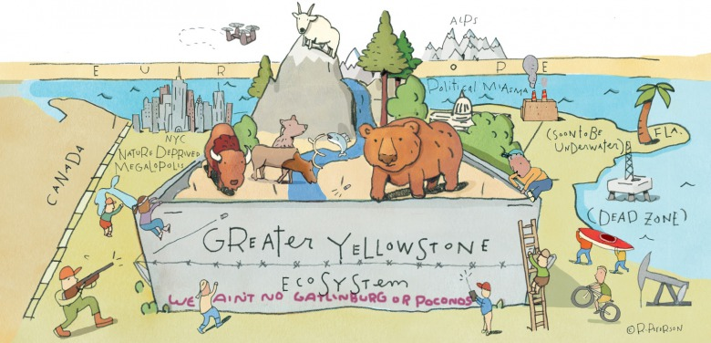 Illustrator Rick Peterson's take on the East Coast from the perspective of Greater Yellowstone.  Click on image to make it larger.