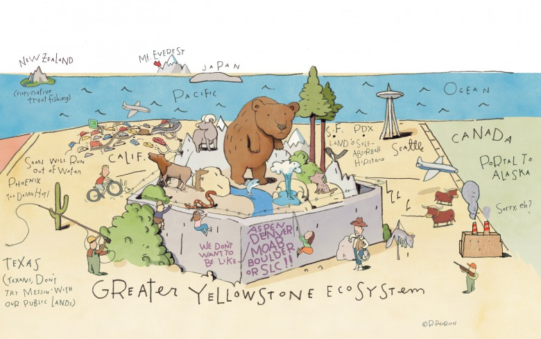 Looking westward toward the Pacific Ocean, illustrator Rick Peterson offers the view from Greater Yellowstone. Click on image to make it larger.