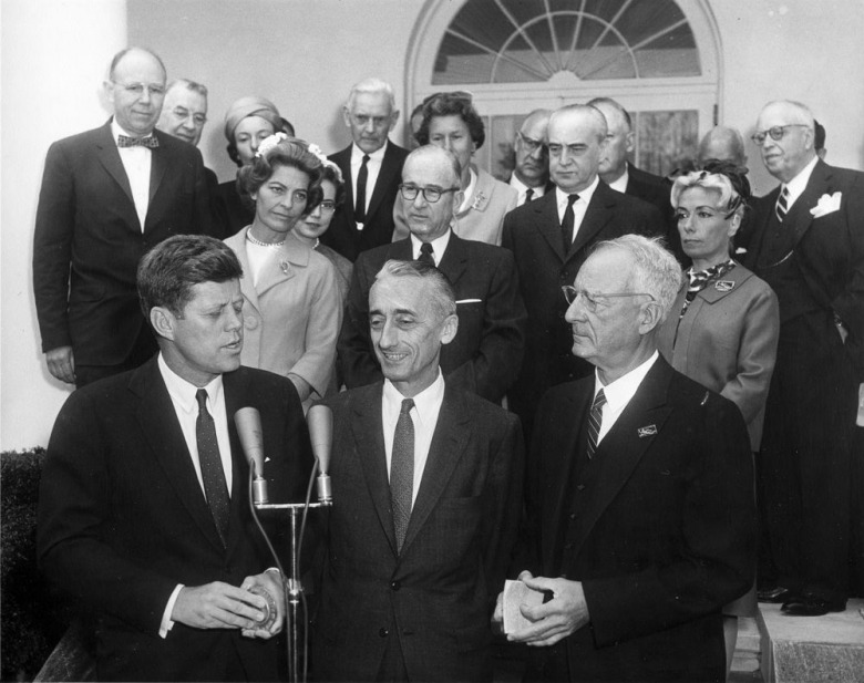 "Cousteau, whom Turner called ""the father of the modern environmental movement,"" influenced leaders around the world, including presidents of both political parties ranging from John F. Kennedy, pictured here, to Bill Clinton who was in office when Cousteau died."