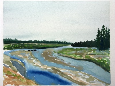 399 and Cubs Crossing Pacific Creek, watercolor 184 by Sue Cedarholm