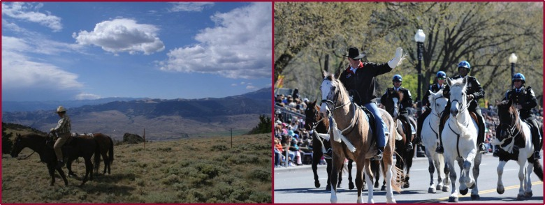 Two westerners on horseback. Who better reflects the spirit of conservationist Theodore Roosevelt? Barry Reiswig, left, is a retired civil servant, lifelong backcountry horseman, hunter and angler;  at right,  Interior Secretary Ryan Zinke, riding in the National Cherry Blossom Festival Parade in Washington, D.C.  Photo of Reiswig courtesy Wyoming Wilderness Association. Photo of Zinke courtesy of U.S. Department of Interior  (click to enlarge)