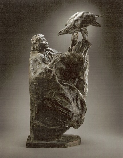 """Boy and the Eagle II"", bronze, by George Carlson"