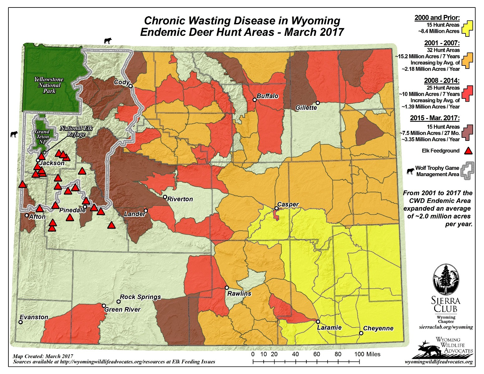 CWD was first diagnosed in southeastern Wyoming (marked in yellow) and over the last three decades has expanded in deer herds.  The disease is now bearing down on the Greater Yellowstone Ecosystem in the northwest corner of the state and  pressing up against the states of both Montana and Idaho.  The location of Wyoming's 22 elk feedgrounds are marked by red triangles.  The National Elk Refuge is located just south of Yellowstone National Park and east of Grand Teton National Park. Map courtesy Wyoming Chapter of the Sierra Club and Wyoming Wildlife Advocates
