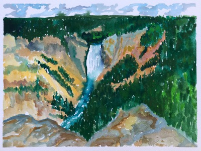 The Lower Falls From The North Rim by Sue Cedarholm