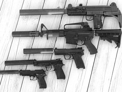 Various kinds of suppressors that cal also be placed on hunting rifles and shotguns