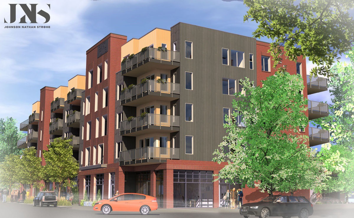 Requiem for Bozeman's historic districts? Andy Holloran's newly-approved Black and Olive development. The terraces in the back, at right, tower two stories over a historic house.  Says Crawford: note how parking is portrayed in this schematic rendering versus what the reality will be.