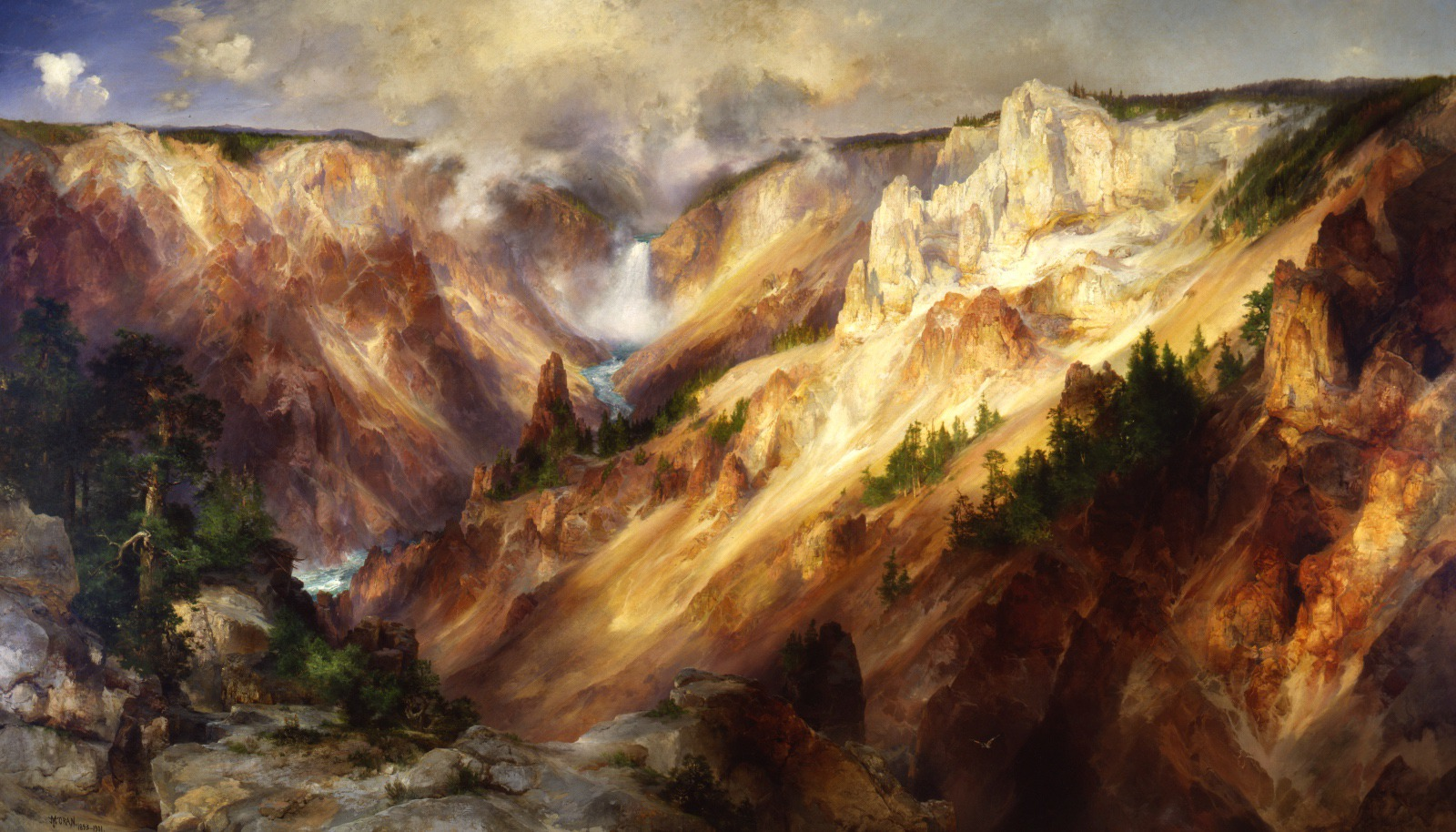 One of Thomas Moran's paintings of the Grand Canyon of the Yellowstone, visions that were instrumental in convincing Congress to create Yellowstone as the first national park in the world.. Click on painting to make larger.