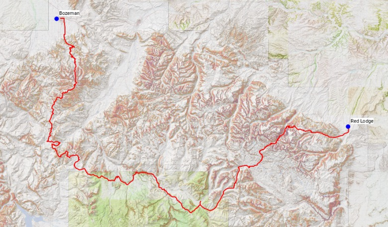 The route that Dave Laufenberg, Anthony Pavkovich and  Zach Altman took in trail running 236 miles from Bozeman, Montana to Red Lodge.  Map courtesy CommonGroundMT