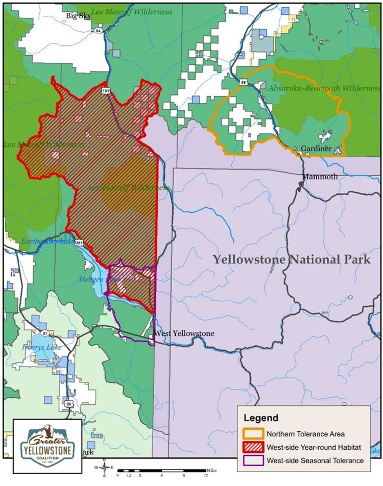 Map showing lands where state of Montana agreed to allow Yellowstone bison more room to roam outside the national park.  Unfortunately, says Phil Knight, the full promise of the deal hasn't been realized. Map courtesy Greater Yellowstone Coalition