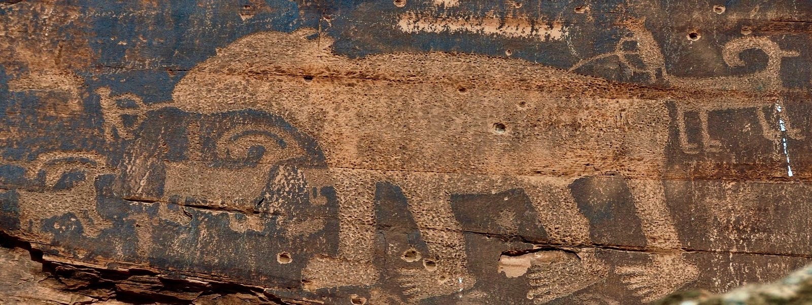 Petroglyphs, circa 8,000 Before Present to 700 BP, along the Colorado River near Moab in eastern Utah. Image courtesy of  Wikipedia Commons