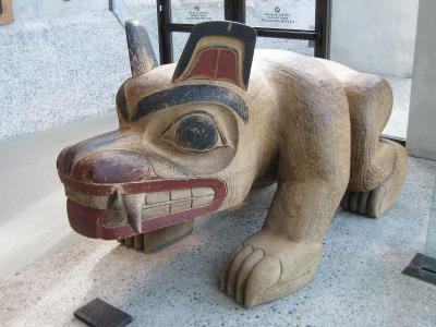 """Bear"", a sculpture by Haida carver William Ronald Reid Jr. (1920-1998) at the University of British Columbia Museum of Anthropology. Image courtesy Wikipedia"