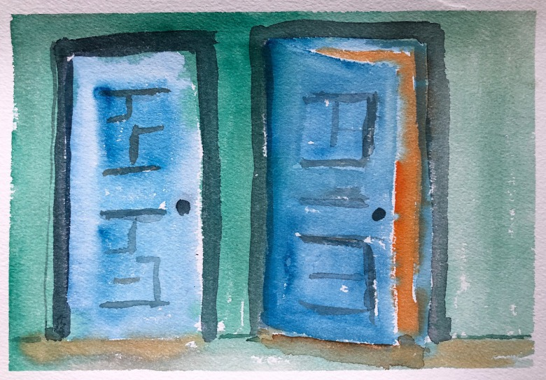 Two Doors—Both Blue Ones, a painting by Sue Cedarholm (www.watercolordiary.com)