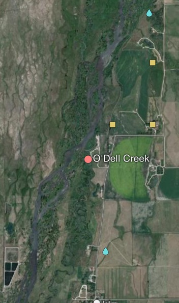 Liam Diekmann's project area encompassed O'Dell Creek and all of its reach, photo courtesy Mapcarta