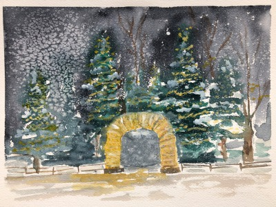 An Elk Antler Arch At Christmas, Jackson, Wyoming, painting by Sue Cedarholm