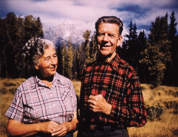 Presidential Medal of Freedom recipient Margaret E. Murie, left, and husband Olaus at their home in the Tetons in 1956. Besides being major figures in the American wilderness movement, they helped secure protection for the Arctic National Wildlife Refuge.  Photo courtesy Murie Center