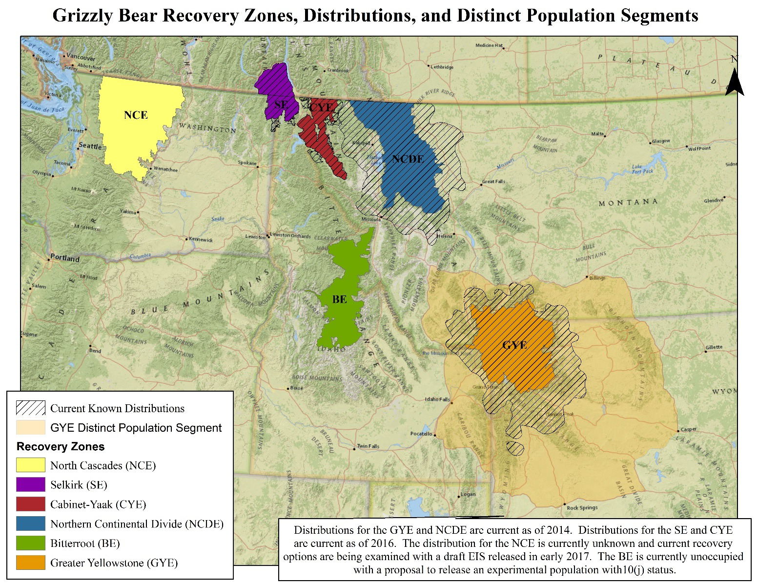 "A map showing existing grizzly bear populations in the Lower 48 states.  Lance Olsen notes that communities around both the Greater Yellowstone (orange) and Northern Continental Divide (blue) are among the fastest growing in the country. The best hope for achieving real bear recovery is having a grizzly ""metapopulation"" which would involve connecting Greater Yellowstone with the Northern Continental Divide ecosystems and getting grizzlies restored to the Bitterroot Ecosystem (marked in green). Map courtesy U.S. Fish and Wildlife Service."