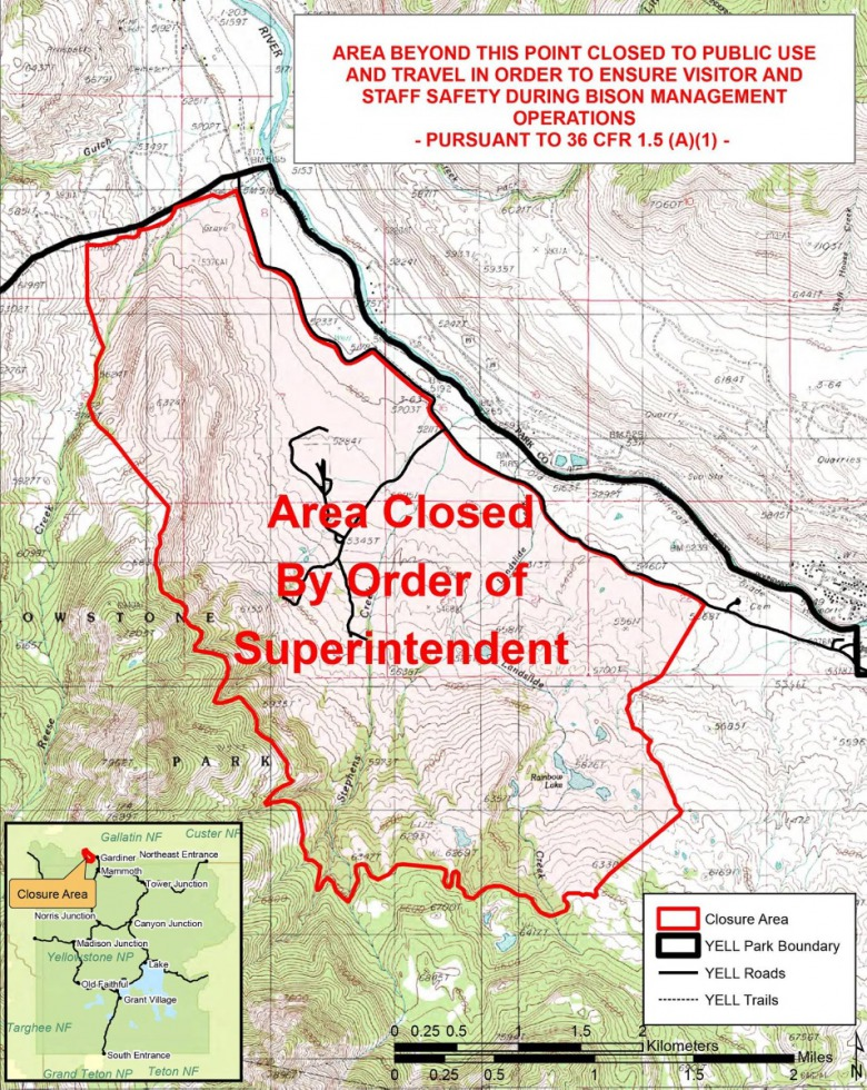 In response to a criminal investigation focussed on the illegal release of bison, Yellowstone Supt. Dan Wenk declared that an area around Stephens Creek along the park's northern border is now closed to public access.