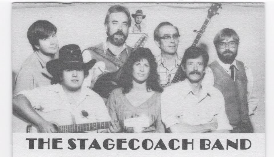 Among the many bands Swift joined over the years was the legendary Stagecoach Band of Wilson, Wyoming. Left to right:  David J. Swift, John Sidle, Brent Moyer, Christine Langdon, Bill Briggs, John Byrne Cooke, and Buddy Thompson. Photo courtesy Christine Langdon