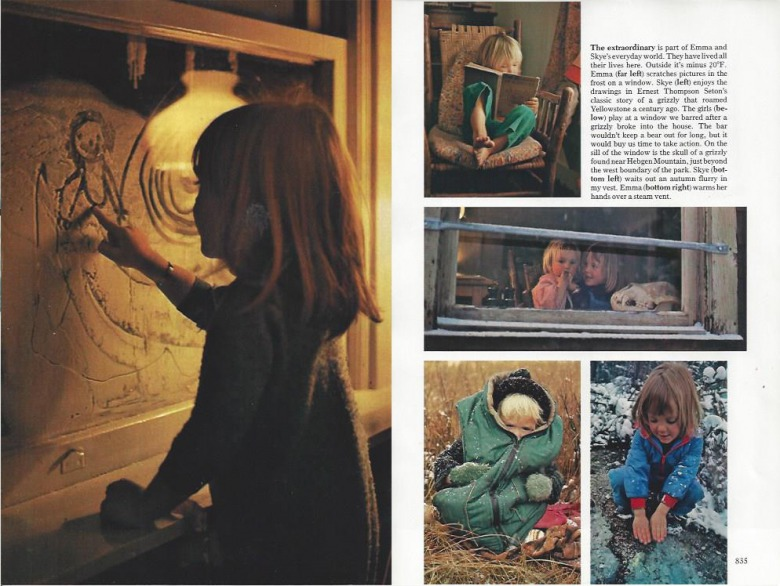 Steve and Angela Fuller raised and homeschooled their daughters, Emma and Skye, at Canyon. It was a matchless education and a life that will forever be imprinted upon their identity. Here, at left, Emma uses a frost-covered window as a drawing  board and, at right, reminders of their growing years. This spread appeared in National Geographic. All photos by Steven Fuller