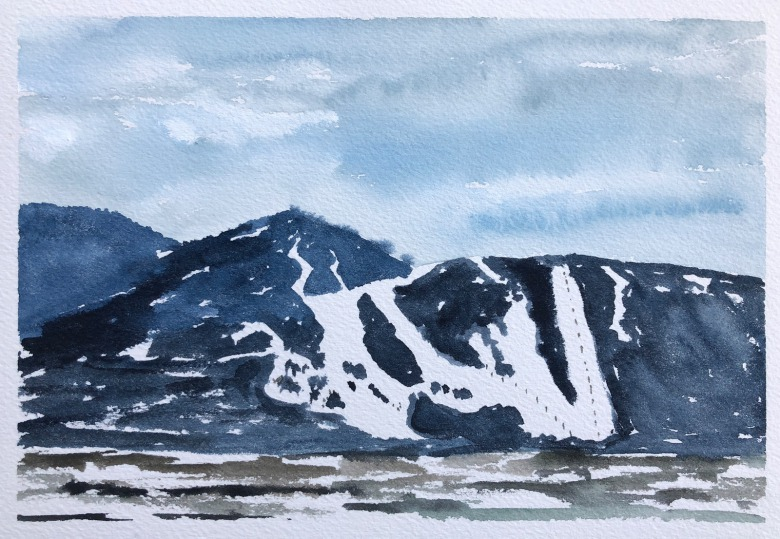 Marking the southern skyline above the town of Jackson, Wyoming is Snow King Mountain.  Watercolor painting by Sue Cedarholm
