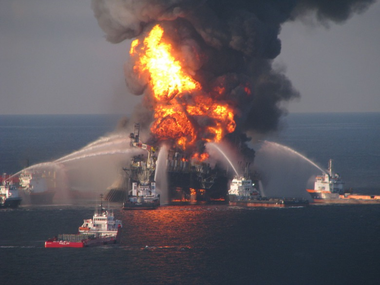 BP's Deepwater Horizon drilling platform disaster which started on April 10, 2010 and leaked  3.19 million barrels of oil into the Gulf of Mexico across 87 days,  caused $62 billion in damages and clean-up costs. It is by far the worst oil spill in U.S. history. Photo courtesy NOAA