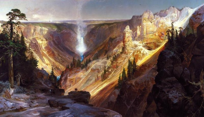 "Thomas Moran's ""Grand Canyon of the Yellowstone"" unveiled before Congress in 1872."