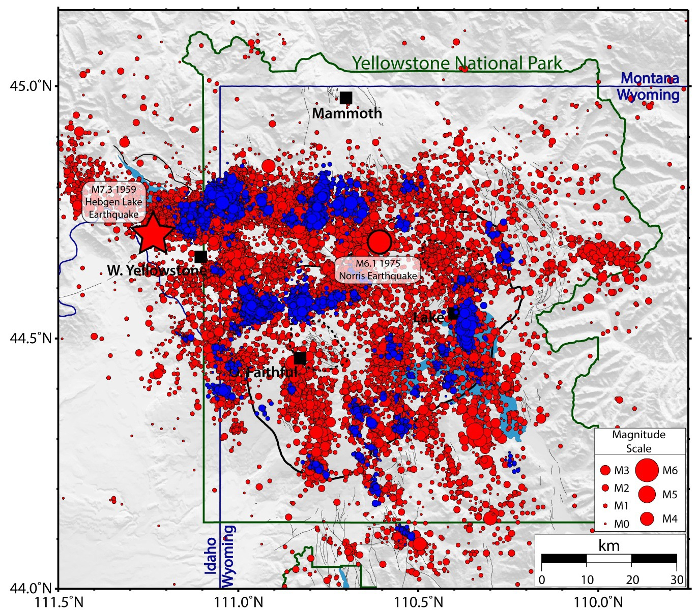 Map of Yellowstone earthquakes as located by the University of Utah Seismograph Stations from 1973 – 2017. Red circles are all quakes, and blue circles are earthquakes that were part of swarms. Courtesy USGS
