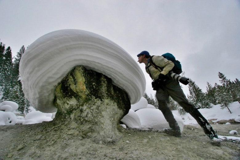 """Tasting a snow cream puff,"" Steven Fuller writes, ""and up here on the Yellowstone Plateau the snow tastes good.."""