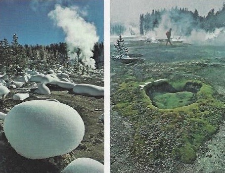 "These photos appeared as part of Fuller's photo illustration for National Geographic. The image on the left features ""snow pillows""; on the right is a walk through the Shoshone Geyser Basin while on a winter backcountry ski trip."