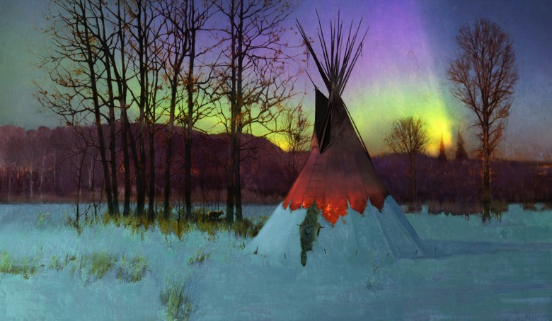 """Hungry Fox Equinox,"" a painting by R. Tom Gilleon. ""During winter,"" Gilleon says, ""many plains tribes referred to the season as the time of the hungry moon."" Painting used with the artist's permission. To see more of Gilleon's work, go to tomgilleon.com"