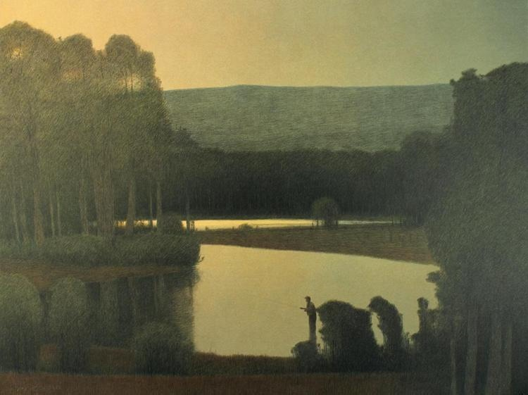 Summer Twilight, Colorado River, lithograph, by Russell Chatham