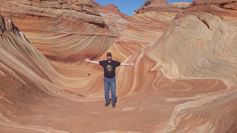 Living the dream of experiencing The Wave formation at North Coyote Buttes in the Paria Canyon-Vermillion Cliffs Wilderness, Utah. Photo courtesy Todd Johnson