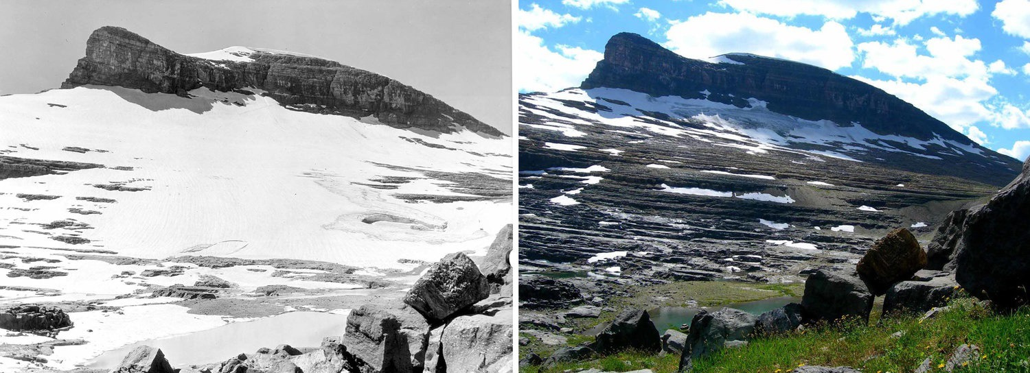 The retreat and steady disappearance of Boulder Glacier in Glacier National Park from 1932 to 2005.  Courtesy Greg Pederson/USGS