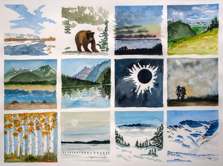 "Sue Cedarholm's last watercolor: a composite of a remarkable year, painting every day for ""Watercolor Diary"""