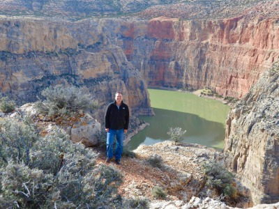 Former soldier Todd Johnson on a hike through Bighorn Canyon