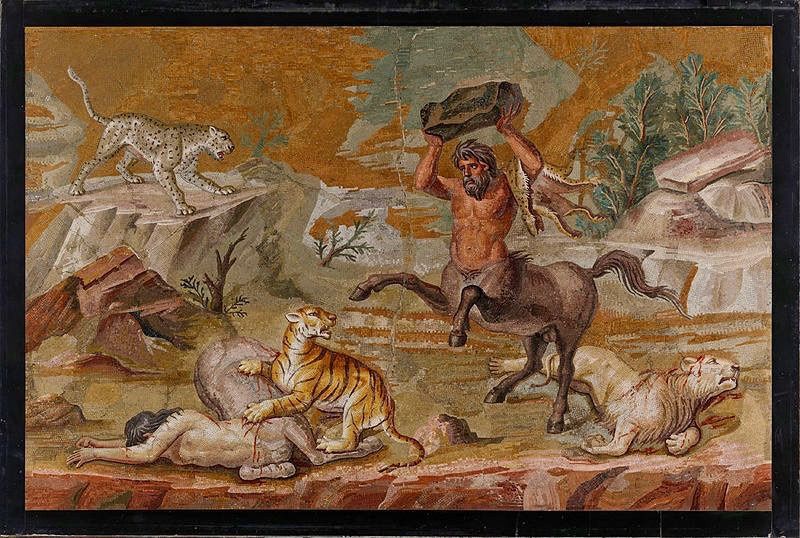 An ancient tiled mosaic portraying a centaur. Photo courtesy Wikipedia/Google Art Project