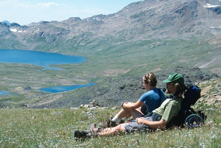 Backpackers rest overlooking Goose Lake. Metcalf played an instrumental role in moving the Absaroka-Beartooth Wilderness bill through Congress.  Photo courtesy Flickr user Lisa Ronald: https://www.flickr.com/photos/40306044@N04/3706658933