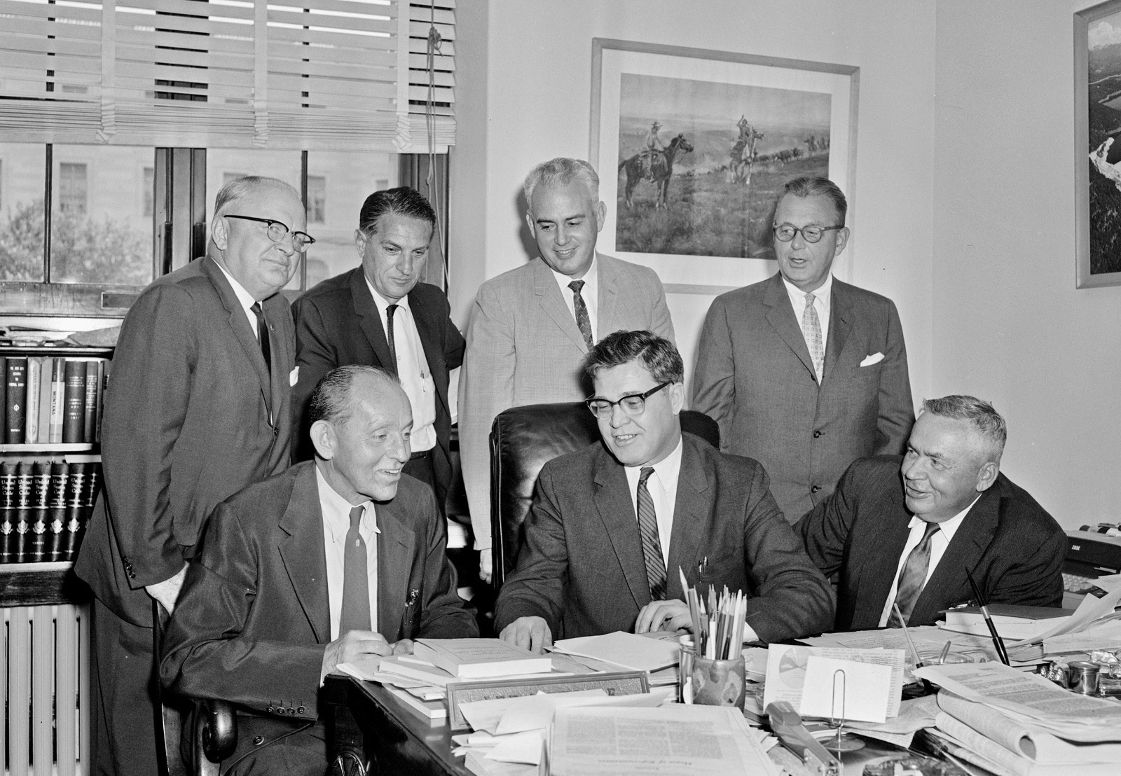 National conservation leaders meet with Metcalf in August 1961 to discuss legislative strategy regarding the proposed national wilderness preservation system bill.  Pictured, left to right, standing, Alden J. Erskin, president of the Izaak Walton League; Phil Schneider, president of the International Association of Game, Fish and Conservation Commissioners; Tom Kimball, executive director of the National Wildlife Federation; Carl W. Buchheister, president of the National Audubon Society; and left to right, seated, C.R. Gutermuth, chairman of the Natural Resources Council of America; Metcalf; and Ira N. Gabrielson, president of the Wildlife Management Institute.