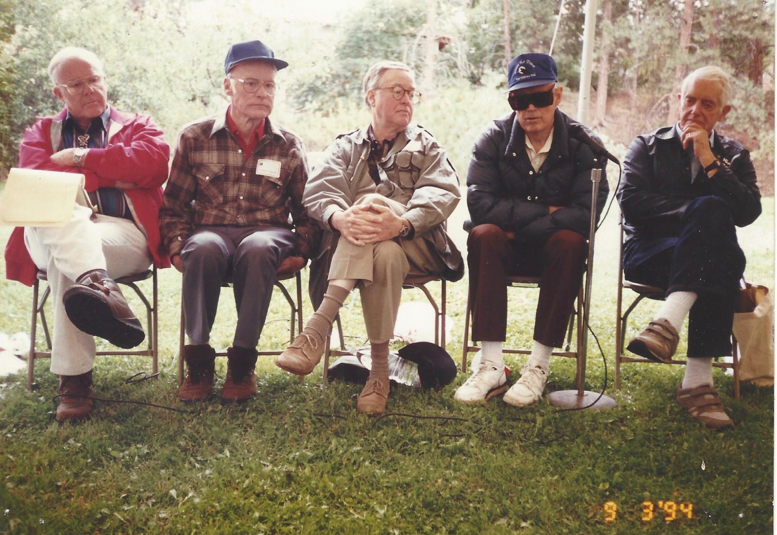 1994, a group of conservation luminaries gathered at the Craighead Institute in Missoula to celebrate the 30th anniversary of the Wilderness Act's passage. Bookending the conversation were Stewart Brandborg, far left, and David Brower, far right. Photo courtesy Larry Campbell