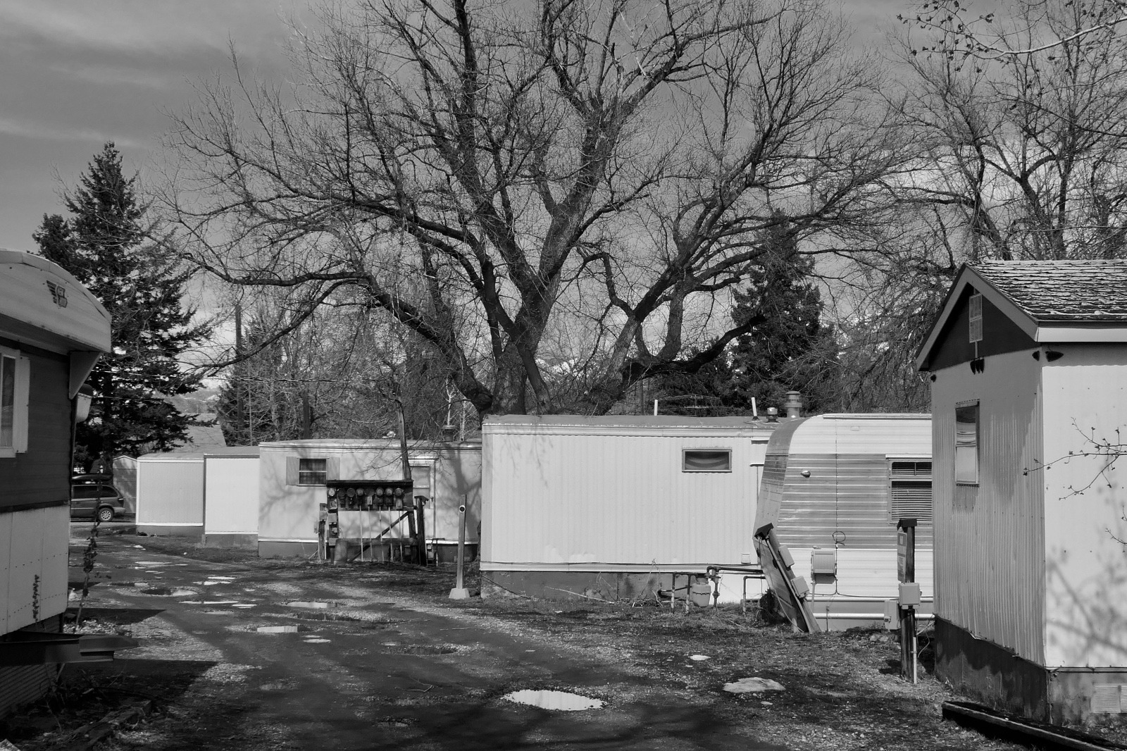 Soon this trailer park in north Bozeman will be replaced and gone too the working-class residents who called it home.  Here's a question: when gentrification pushes people out of a community, doesn't anyone notice when they leave?  Photo by Tim Crawford