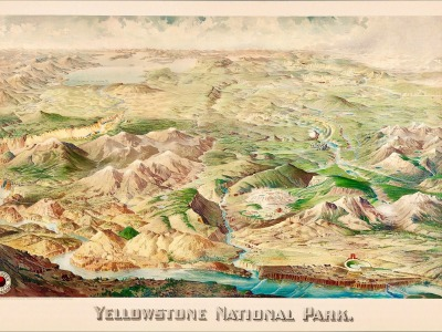 Historic map of Yellowstone 1904