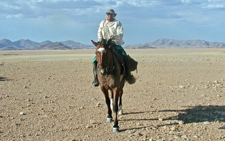 Steve Fuller on an 11-day 320km horse trip across the Namib desert from near the central plateau city of Windhoek to the town of Swakopmund on the South Atlantic Coast.  He was engaged by the Namibian outfitter to photograph the trip.